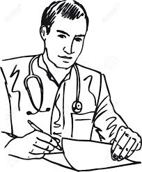 Sketch Medical Doctor With Stethoscope Sitting At A Desk In