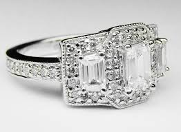 Engagement Ring Emerald Cut Diamond Vintage Style Three Stone Setting In 14K White Gold 106 ES299