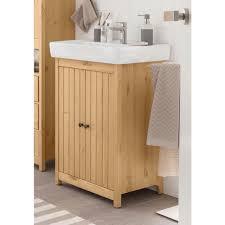 home affaire waschtisch westa breite 60 cm badezimmerschrank aus massivholz kiefernholz metallgriffe 2 türen mit waschbecken