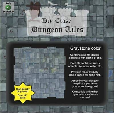 "Dungeon Square Tiles - Graystone, 10"", 9ct"