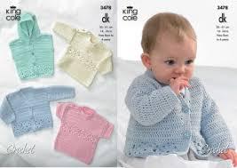 king cole dk baby cardigan hooded gilet sweaters crochet pattern 3478