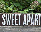 Home Sweet Apartment Handprinted Wood Sign 35x20