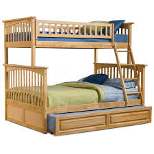 Unstained Pine Wood Pallet Trundle Bed With Headboard And