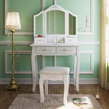 Bedroom Vanity Dresser Set by Tribesigns Wood Makeup Vanity Table Set With 3 Mirror And Stool