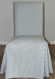 Ticking Stripe Long Box Cushion Dining Chair Slipcover