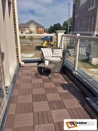 Kon Tiki Wood Deck Tiles by Parquet Checker Board Style Balcony Terrace Decking Brown