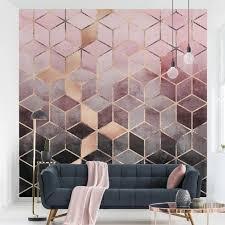 fototapete rosa grau goldene geometrie fototapete quadrat