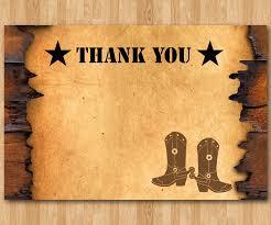 Western Thank You Note Cowboy Theme Card Boy Or