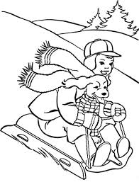Printable Winter Coloring Pages Dog Boy On Sled Sheets And Pictures