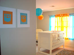 Yellow And White Curtains For Nursery by Grey Wall Themes And Yellow Blue Curtains Also White Wooden Baby