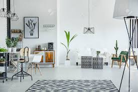 100 Scandinavian Design Chicago White Loft Interior In Style With Pattern Carpet Stock