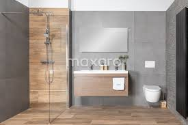 modern bathroom with ceramic parquet tiles in wood look