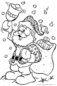 Santa Claus With A Bell Coloring Page