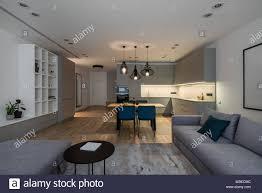 helle einrichtung mit einer küche und parkett mit teppich