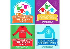 Ugly Sweater Flyers Vector Party Invitation Template