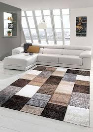 designer teppich moderner teppich wohnzimmer teppich kurzflor teppich mit konturenschnitt karo muster braun grau taupe größe 80x150 cm