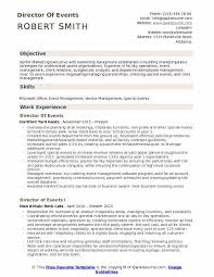 Director Of Events Resume Example