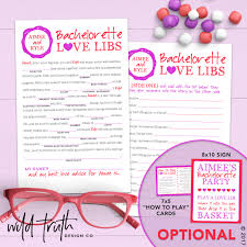Halloween Mad Libs For 5th Graders by Bachelorette Mad Lib Game Honeymoon Advice Printable Or
