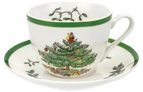 Spode Christmas Tree Peppermint Mugs Spoons by Spode Christmas Tree Teacup U0026 Saucer X 4 Amazon Co Uk Kitchen U0026 Home