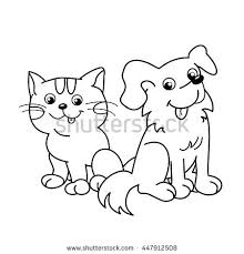 Coloring Page Outline Of Cartoon Cat With Dog Pets Book For Kids Cute And