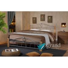 thiago silver bed frame natural wood silver metal bed