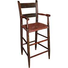 Tall Ladder Back Chairs With Rush Seats by 19th C Stenciled Thumb Back High Chair Or Child U0027s Chair With Rush