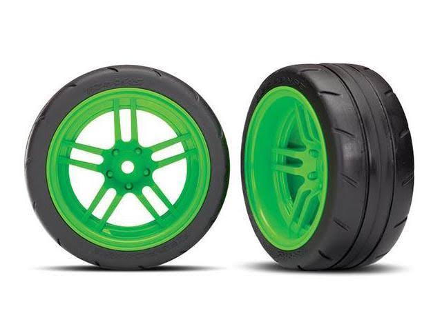 Traxxas Extra Wide Rear Tires & Green Wheels Assembled TRA8374G