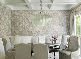 White And Gray Dining Room With Black Damask Wallpaper