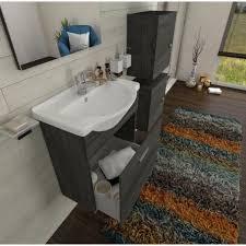 badezimmer badmöbel 55 cm aus eiche weiß holz mit schublade und keramik waschtisch standard 55 cm eiche weiß