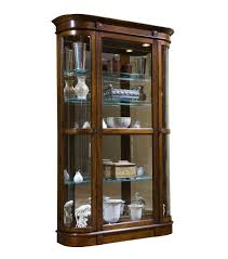 Pulaski Glass Panel Display Cabinet by Curved End Curio Cabinet In Salerno Brown Closeout By Pulaski