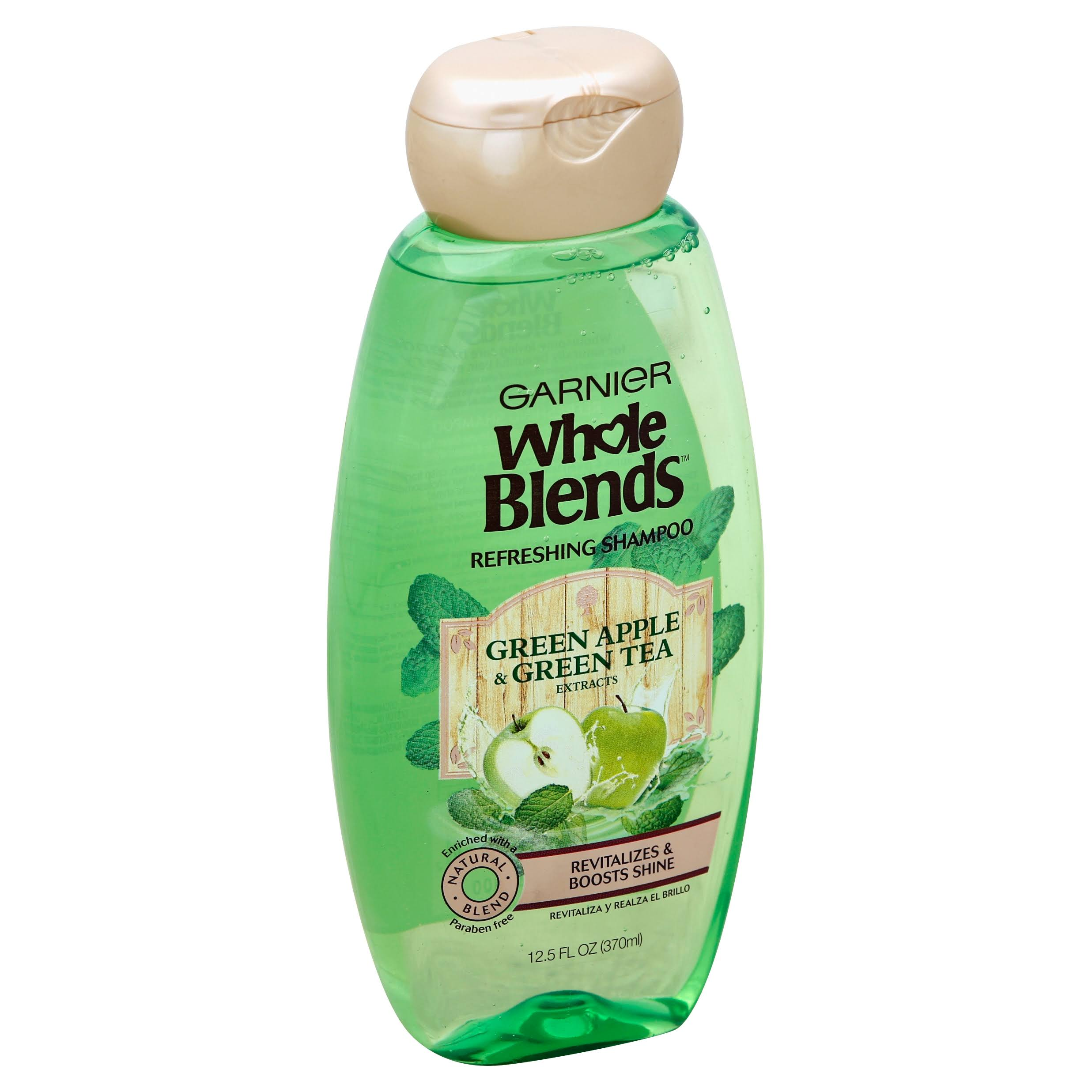 Garnier Whole Blends Shampoo - Green Apple & Green Tea, 370ml