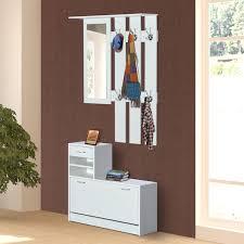 Conjunto de Muebles tipo Recibidor de 2 Piezas Perchero Espejo y