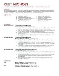 Resume For Retail Customer Experience Manager Example Template Australia