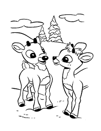 Christmas Reindeer Fawns Coloring Page Color Online Print