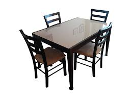 Macy Kitchen Table Sets by Macy U0027s Café Latte Glass Top Dining Set Chairish
