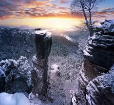 Winter Sunset Forest Cliff Snow Nature Landscape Germany Clouds Trees Mountain Wallpaper And Background