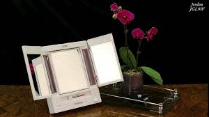 jerdon tabletop tri fold 2 sided lighted makeup mirror with 5x