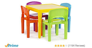 Amazon Tot Tutors Kids Plastic Table And 4 Chairs Set Vibrant Colors Kitchen Dining