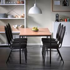 kantinenpaket tisch 1800 x 800 mm buche schwarz und 6 stühle textilbezug schwarz schwarz