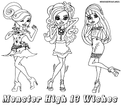 Monster High 13 Wishes 3 Girls Colouring Sheet
