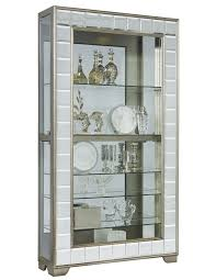 Pulaski Glass Panel Display Cabinet side entry mirrored curio cabinet in platinum by pulaski home
