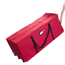 Elf Stor Premium Red Rolling Christmas Tree Storage Duffel Bag For 12 Ft