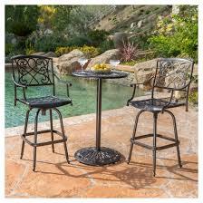 Cast Aluminum Outdoor Sets by Santa Maria 3 Piece Cast Aluminum Patio Bistro Bar Set Copper