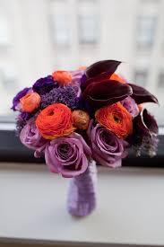 orange purple wedding flowers Wedding Bouquet Ideas