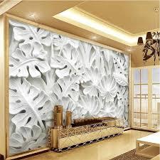 blätter muster gips relief wandbild 3d foto tapeten für