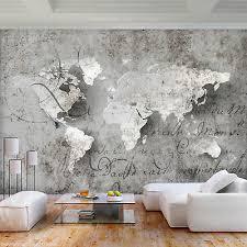 vlies fototapete weltkarte grau landkarte beton tapete