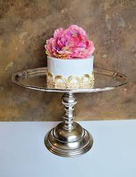 Huge Antique Silver Look Rustic Cake Stand Cupcake 15 X 11