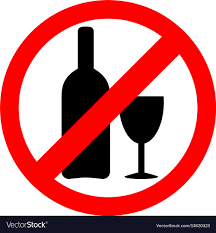No Alcohol Sign Drinking Is Forbidden Icon Vector Image