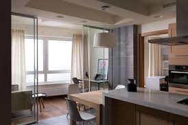 Kitchen And Dining Room Image Awesome Layout Inspirations For Apartment Design Frameless Glass Sliding Doors Are Installed As Divider Between