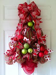 SALE Red Green Striped Deco Mesh Christmas Tree Door Decoration With And White Swirls Polka Dots On Etsy 6500